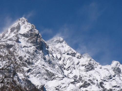 厳冬期の明神岳